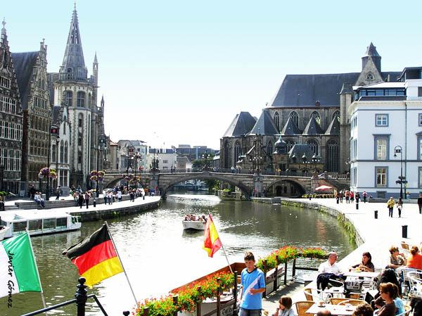 Korenlei and Graslei in Ghent